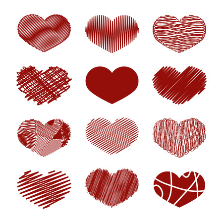 tight: Set of Stylized hand-drawn Scribble Hearts Icons. Childlike, Dense, Loose, Moir, Sharp, Sketch, Snare, Swash, Tight, Zig-Zag, Scrappy, Doodle, Cartoon, Comics. Perfect Design Element for Valentines Day or Wedding. Vector Stock. Illustration