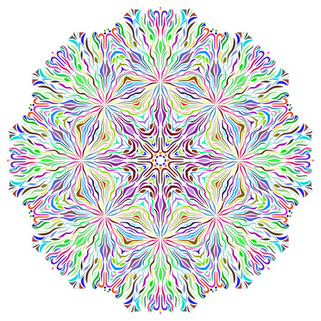 asian and indian ethnicities: Vector Beautiful Flower. Colorful  mandala. Geometric circle element made in vector. Boho style. Islamic, Arabic, Indian, Ottoman Motifs, Kaleidoscope, Medallion, Yoga, Meditation. Decorative elements for any kind of design.