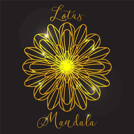Vector Beautiful Flower Lotus. Golden mandala with highlights. Geometric circle element made in vector. Decorative elements for any kind of design or Logotype. Ilustração