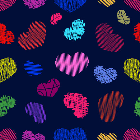 childlike: Seamless Pattern with Stylized colorful hand-drawn Scribble Hearts. St. Valentines Day or Weddings Design Element. Doodle Sketch Childlike Style. Vector background. Illustration