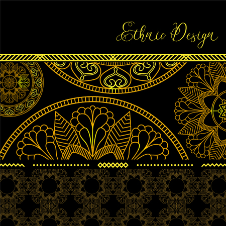 highlights: Golden mandalas with highlights. Vector background. Ethnic design. Vintage Round Ornament Pattern. Islamic, Arabic, Indian, Bohemian, Gypsy. Decorative Elements for Card or any other kind of Design.