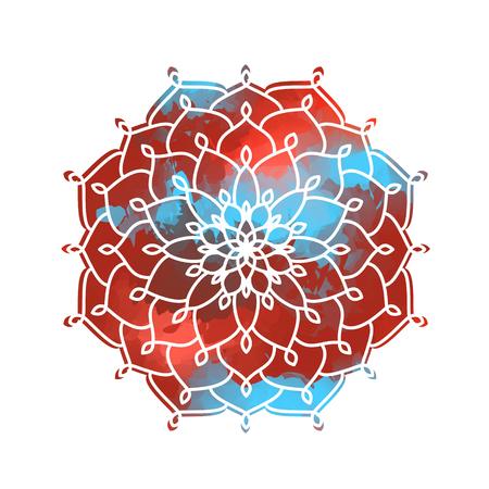 gypsy: Mandala above colorful watercolor spot for design. Retro Round Ornament Pattern. Islamic, Arabic, Indian, Bohemian, Gypsy, Ottoman Motifs, Kaleidoscope, Medallion, Yoga, Meditation.