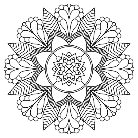 golden daisy: Mandala. Vintage Round Ornament Pattern. Stylized Ornamental Flower. Decorative element for any kind of design. Coloring book.