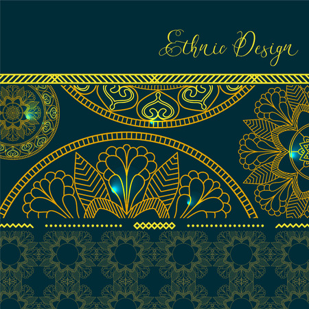 Golden mandalas with highlights. Vector background. Ethnic design. Vintage Round Ornament Pattern. Islamic, Arabic, Indian, Bohemian, Gypsy. Decorative Elements for Card or any other kind of Design.
