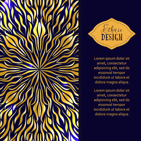 highlights: Golden mandala with highlights. Vector background. Ethnic design. Vintage Round Ornament Pattern. Islamic, Arabic, Indian, Bohemian, Gypsy. Decorative Elements for Card or any other kind of Design.