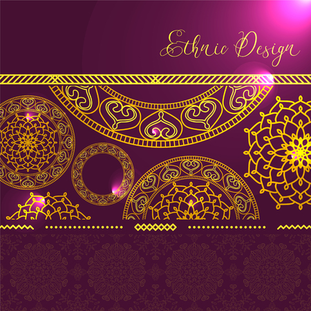 gypsy: Golden mandalas with hotspots. Vector background. Ethnic design. Vintage Round Ornament Pattern. Islamic, Arabic, Indian, Bohemian, Gypsy. Decorative Elements for Card or any other kind of Design.