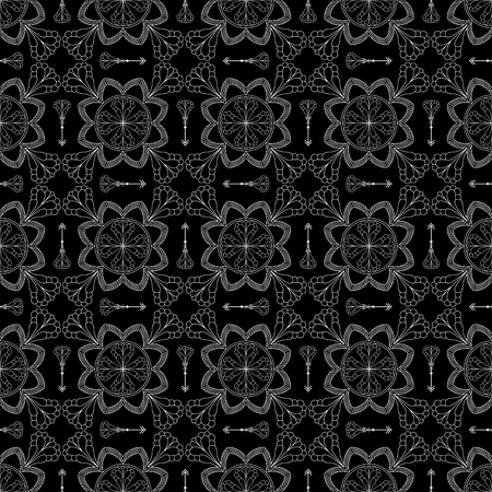 canvas print: Abstract Seamless Pattern. Vintage Ornament Pattern. Ethnic decorative elements for print and cloth, fabrics and canvas texture or any other kind of design. Black and White Background.