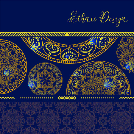 gypsy: Golden mandalas with highlights. Vector background. Ethnic design. Vintage Round Ornament Pattern. Islamic, Arabic, Indian, Bohemian, Gypsy. Decorative Elements for Card or any other kind of Design.