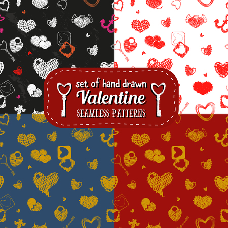 st  valentine's day: Set of Seamless Pattern with Hearts. St. Valentines Day Design Element. Doodle Style. Vector Stock.