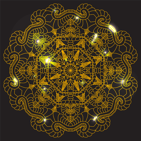 highlights: Vector Beautiful Mandala. Ethnic Design Element. Vintage round ornament. Golden mandala with highlights. Geometric circle element made in vector.
