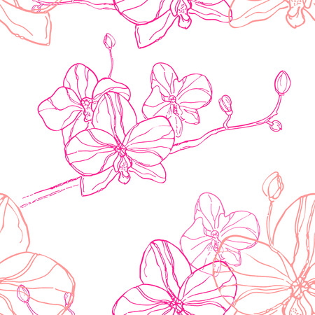 canvas print: Abstract Seamless Pattern with pink orchids flower on White Background. The hand drawn ink sketch. Vector Background. Can be use for print clothes and canvas, wallpaper, greeting cards or invitations. Illustration