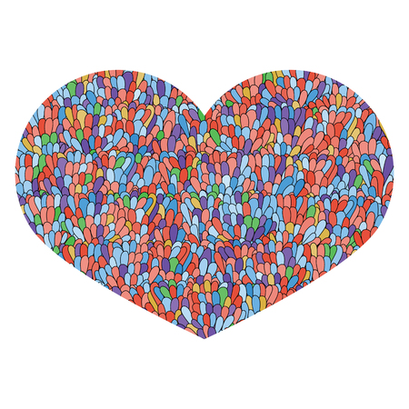 love image: Hand drawn heart Isolated on white background. Love image. Doodl Illustration