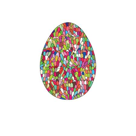 Hand drawn easter egg design with colorul doodle pattern like mo