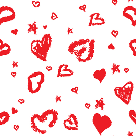 childlike: Seamless Pattern with Stylized hand-drawn Hearts. St. Valentines Day or Weddings Design Element. Doodle Sketch Childlike Style. Vector background.