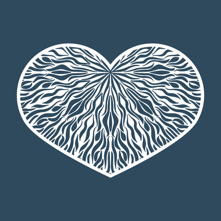 Vector Stencil lacy heart with carved openwork pattern. Template Illustration