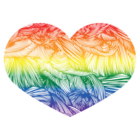 legalization: Heart icon isolated on white background. Rainbow heart with hand drawn wavy pattern. LGBT logo. Gay culture sign. Design element for banner, flyer, greeting card, pride. Doodle Style hand drawn Vintage ornate design element for Valentines Day or Wedding. Illustration