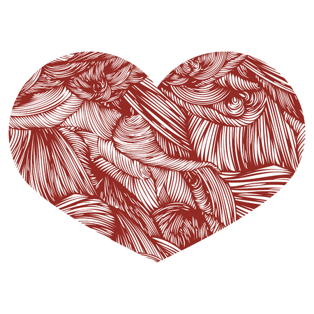 Ornamental Heart. Ink drawing heart with wave pattern. Doodle Style hand drawn Vintage ornate design element for Valentines Day or Wedding. Stock Vector. Brown