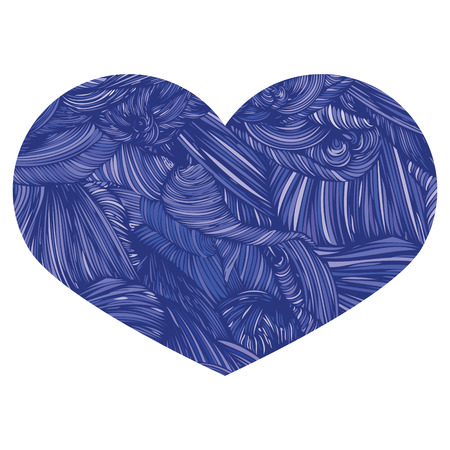 Vivid Ornamental Heart in blue. Ink drawing heart with wave pattern.