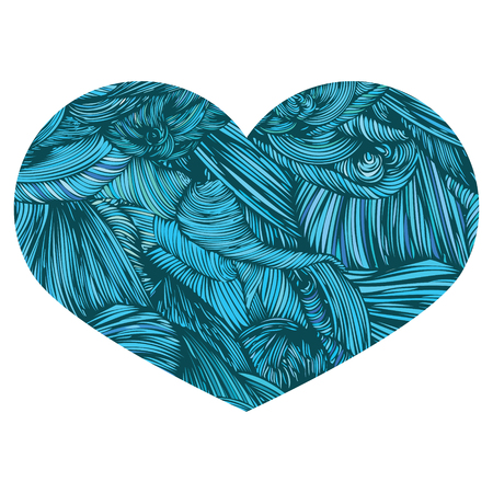 Vivid Ornamental Heart in greenish-blue. Ink drawing heart with wave pattern. Doodle Style hand drawn Vintage ornate design element for Valentines Day or Wedding. Stock Vector. Colorful.