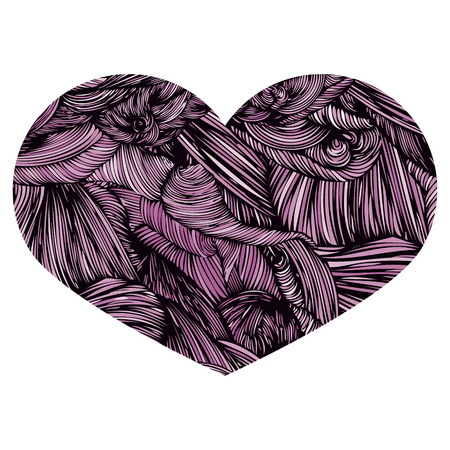 Vivid Ornamental Heart in  purple. Ink drawing heart with wave pattern.