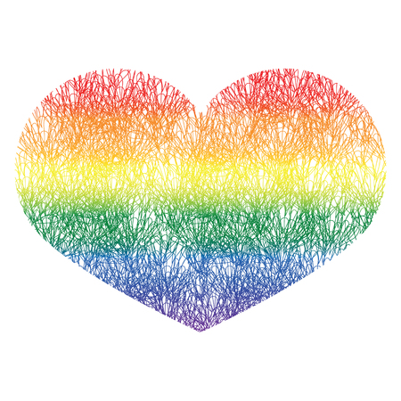 Heart icon isolated on white background. Rainbow heart with hand drawn pattern with gradient. LGBT logo. Gay culture sign. Design element for banner, flyer, greeting card, pride. Stock Vector. Multicolor heart.