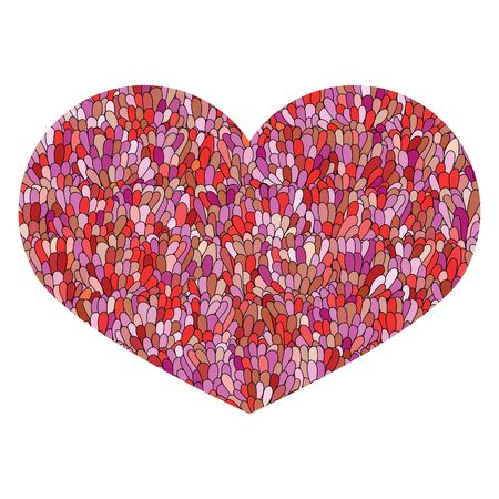 Hand drawn heart Isolated on white background. Love image. Doodle Cute colorfull heart with mosaic pattern in pink and red colors. Template for card, prints, poster, souvenirs. Design element for Valentines Day. Stock Vector.