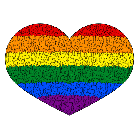 Heart icon isolated on white background.  Rainbow heart with hand drawn pattern like mosaic. LGBT logo. Gay culture sign. Design element for banner, flyer, greeting card, pride. Stock Vector. Multicolor heart. Stock Photo