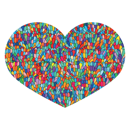 Hand drawn heart Isolated on white background. Love image. Doodle Cute colorful heart with mosaic pattern. Template for card, prints, poster, souvenirs. Design element for Valentines Day. Stock Vector.