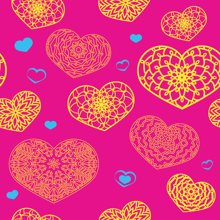 ornamental design: Seamless Colored Pattern with Ornamental Hearts in bright colors. St. Valentines Day or Weddings Design Element. Doodle Style. Vector background. Stock vector.