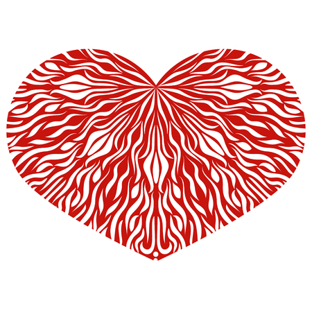 Ornamental Heart. Vintage ornate design element for Valentines Day or Wedding. Stock Vector. Red Heart.