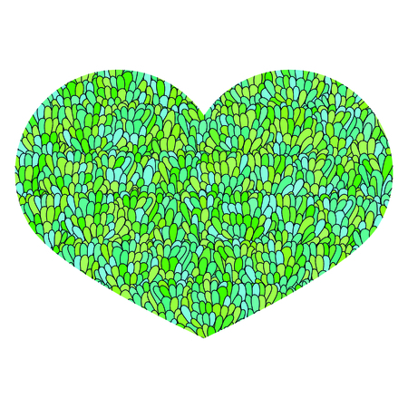 Hand drawn heart Isolated on white background. Love image. Doodle Cute colorful heart with mosaic pattern in green and blue colors. Template for card, prints, poster, souvenirs. Stock Vector.
