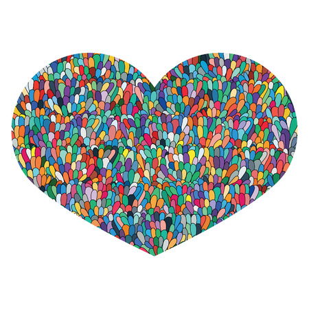 Hand drawn heart Isolated on white background. Love image. Doodle Cute colorfull heart with mosaic pattern. Template for card, prints, poster, souvenirs. Design element for Valentines Day. Stock Vector. Stock Photo