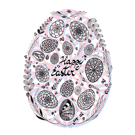Decorative Card with Big Easter egg which consists of small hand drawn ornamental eggs and floral elements on colored substrate. Doodle style. Illustration