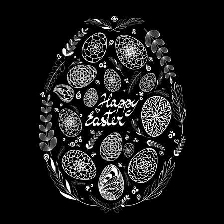 Decorative Card with Big Easter egg which consists of small hand drawn ornamental eggs and floral elements white on black background. Doodle style. Stock vector Illustration