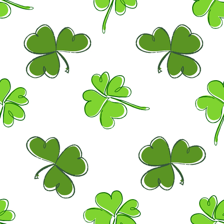 threeleaf: Clover seamless pattern. Clover pattern with three and four leaf. St. Patricks Day hand-drawn chaotic clover endless repeat backdrop, texture, wallpaper. Luck symbol backdrop. Stock vector