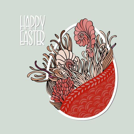 Decorative Card with Easter egg like basket with flowers in retro soft desaturated colors. Doodle style. Stock vector