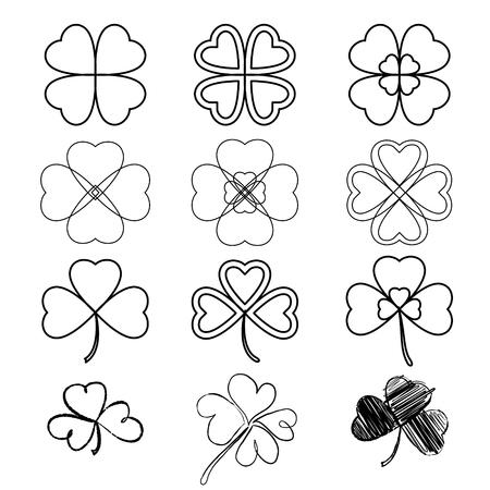 threeleaf: Set leaf clover. Three and Four leaf, silhouettes, hand-drawn, stylized. St. Patricks day - stock vector