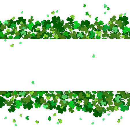 St Patricks Day Vector background with shamrock. Lucky spring symbol. Clover in green shades isolated on white background. Border and frame - stock vector
