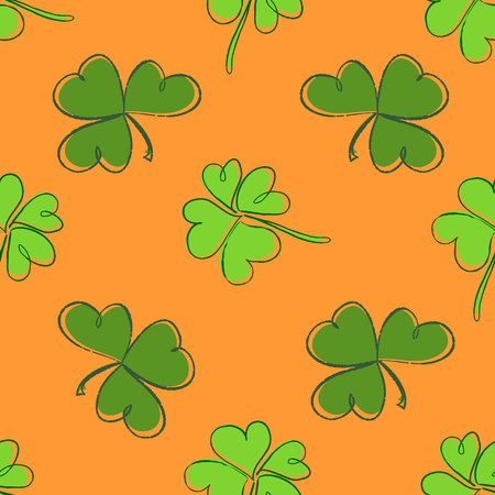 threeleaf: Clover seamless pattern. Clover pattern with three and four leaf green on orange background. St. Patricks Day hand-drawn doodle style clover endless repeat backdrop, texture, wallpaper. Luck symbol