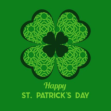 St Patrick's Day Vector achtergrond met klaver. Lucky spring-symbool. Shamrock achtergrond - voorraad vector