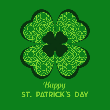 St Patricks Day Vector background with Clover. Lucky spring symbol. Shamrock background - stock vector
