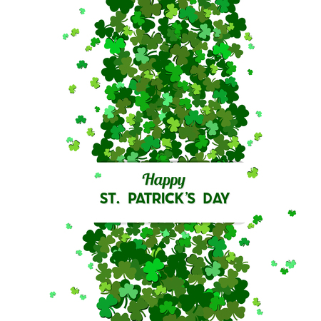 St Patricks Day Vector background with shamrock. Lucky spring symbol. The falling clover leaves . Clover in green shades isolated on white background. Border and frame - stock vector Illustration
