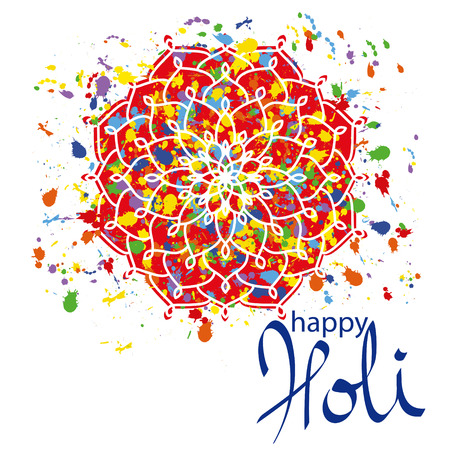 Vector Illustration of Abstract Colorful Happy Holi Festival Background. Indian Festival of Colours, Happy Holi celebration. Greeting Card, Invitation, Creative Flyer, Banner, Pamphlet design with Mandala, Colourful splash, text Illustration