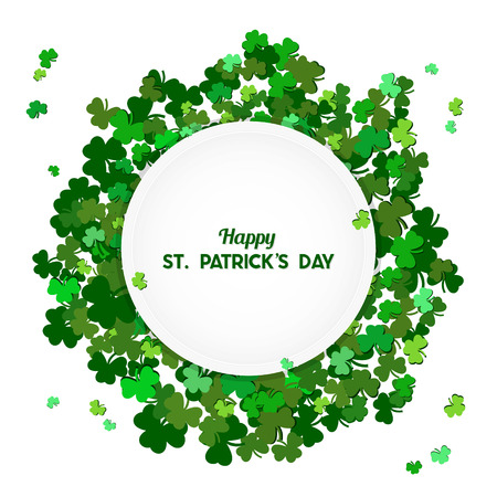 St Patricks Day Vector background with shamrock. Lucky spring symbol. Clover in green shades isolated on white background and White Round Substrate. Border and frame - stock vector