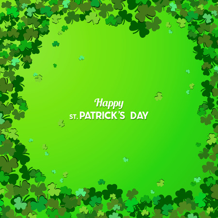 St Patricks Day Vector background with shamrock. Lucky spring symbol. Clover in green shades isolated on green background. Border and frame - stock vector