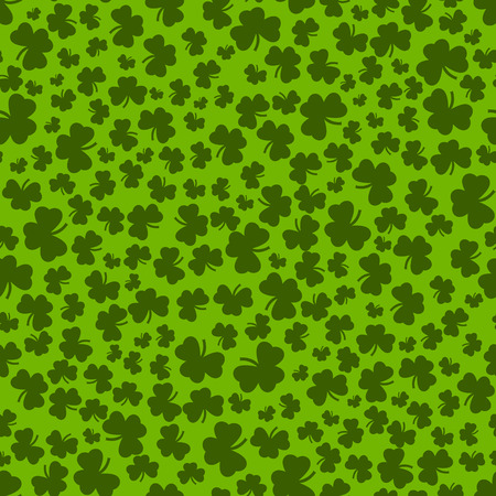 celtic background: Clover seamless pattern in green colors. Pattern with shamrock. St. Patricks Day clover endless repeat backdrop, texture, wallpaper. Luck symbol backdrop. Stock vector Illustration