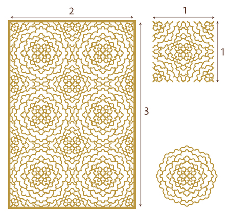 golden daisy: Vector Laser cut panel, the seamless pattern for decorative panel. Image suitable for engraving, printing, plotter cutting, laser cutting paper, wood, metal, stencil manufacturing. Stock vector.