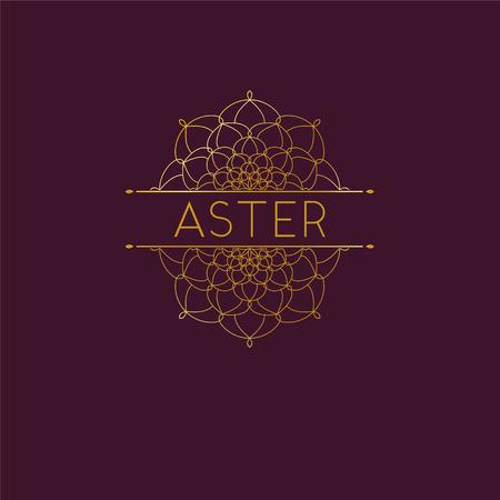 Abstract flower logo icon design. Elegant Golden Daisy symbol. Template for creating unique luxury design, logo. Universal premium vector sign. Stock vector