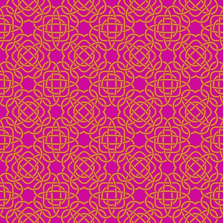 Celtic seamless pattern in Medieval style. Golden tangle on purple background. Endless repeat backdrop, texture, wallpaper. Stock vector Illustration