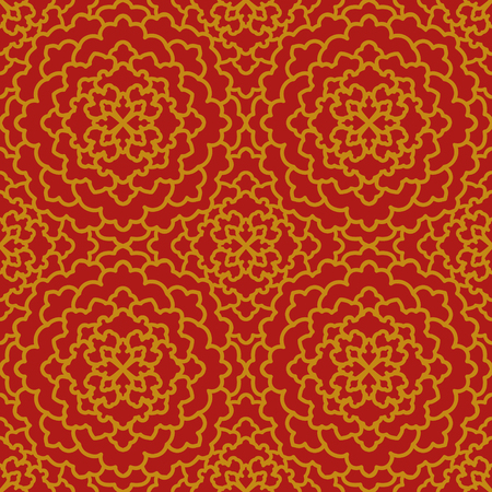 aster: Abstract Seamless Pattern. Vintage Ornament Pattern golden on red background. Ethnic decorative elements for print and cloth, fabrics and canvas texture or any other kind of design. Illustration